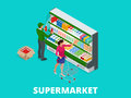 Woman shopping milk in grocery store. Isometric Supermarket thermocool refrigerator shelves food collection with milk