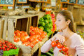 Woman shopping in organic store Royalty Free Stock Photo