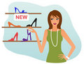 Woman shopping for shoes Royalty Free Stock Photo