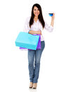Woman on a shopping spree Stock Images