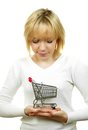 Woman with shopping trolley Stock Image