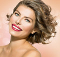 Woman with short curly hair beauty young Royalty Free Stock Image
