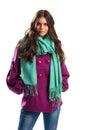 Woman in short purple coat. Royalty Free Stock Photo