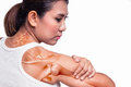 Woman with shoulder pain Royalty Free Stock Photo
