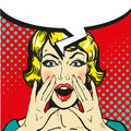 Woman shouting pop art comic retro vector. Speech bubble
