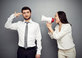 Woman shouting at the tired man Royalty Free Stock Photo