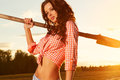 Woman with shovel young sexy Royalty Free Stock Photos