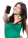 Woman Show display of mobile cell phone Royalty Free Stock Photo