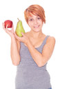 Woman Showing Apple And Pear