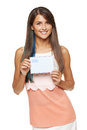 Woman showing blank envelope trendy young smiling with blue hair coloring banner over white background Royalty Free Stock Photography