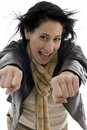 Woman showing clenched fists Stock Photo