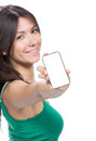 Woman showing display of her new touch mobile cell phone young pretty focus on the hand and with white screen Stock Photo