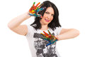 Woman showing hands in colorful paints happy isolated on white background Royalty Free Stock Photo