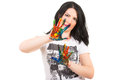 Woman showing hands in paints colorful isolated on white background Stock Photos