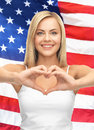 Woman showing heart shape Royalty Free Stock Photography