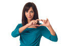 Woman showing heart shape beautiful young business isolated over a white background Royalty Free Stock Photo