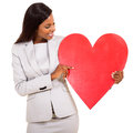 Woman showing heart symbol african red isolated on white Stock Photography