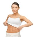 Woman showing her belly picture of in blank shirt Royalty Free Stock Photography