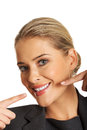 Woman showing her perfect white teeth Royalty Free Stock Photography