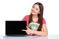Woman showing laptop screen Royalty Free Stock Photo