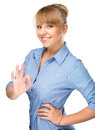 Woman is showing ok sign young isolated over white Royalty Free Stock Photography