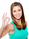 Woman showing  okay gesturing Royalty Free Stock Images