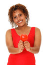 Woman showing red heart african ethnisy focus on background Stock Photography