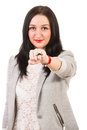 Woman showing ring mustache happy in front of camera isolated on white background Stock Photography