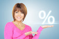 Woman showing sign of percent in her hand Stock Image