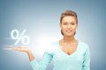 Woman showing sign of percent in her hand Stock Photography