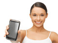 Woman showing smartphone beautiful sporty with app Royalty Free Stock Photography