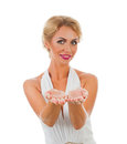 Woman showing something on the palms of her hands Royalty Free Stock Photo