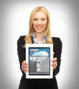 Woman showing tablet pc with news business technology internet and concept women app Royalty Free Stock Images