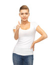 Woman showing thumbs up happy in blank white t shirt Royalty Free Stock Photo