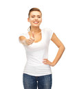 Woman showing thumbs up happy in blank white t shirt Royalty Free Stock Images