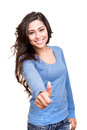 Woman showing thumbs up young over white background Royalty Free Stock Photography