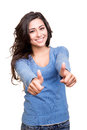 Woman showing thumbs up young over white background Royalty Free Stock Photos