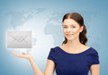 Woman showing virtual envelope Royalty Free Stock Photo