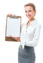 image photo : Woman shows a blank clipboard