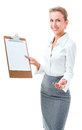 Woman shows a blank clipboard young in office attire the figure is isolated on white background with the clipping path Royalty Free Stock Photo