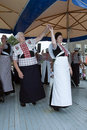 Woman shows original dutch dance in costume Stock Photos