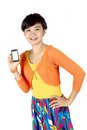A woman shows a touch screen mobile phone Royalty Free Stock Image