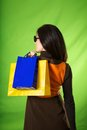 Woman side holding shopping bags Royalty Free Stock Photos