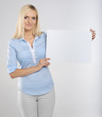 Woman with signboard Royalty Free Stock Photo