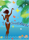 Woman silhouette in bikini swimwear at beach tropical with palm tree leaves and butterflies on background i love holidays Royalty Free Stock Photos
