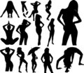 Woman silhouette collection Royalty Free Stock Photos
