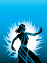 Woman silhouette color blue shape Stock Images
