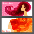 Woman silhouette with curly hair on banners for Royalty Free Stock Photo