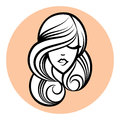 Woman silhouette, women's face drawing. Abstract design concept Royalty Free Stock Photo
