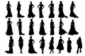Woman silhouettes isolated on white background Royalty Free Stock Photos